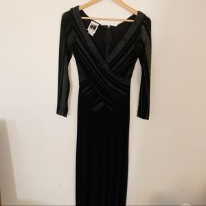 Tadashi Long Evening Dress Slinky Sparkle Stripe